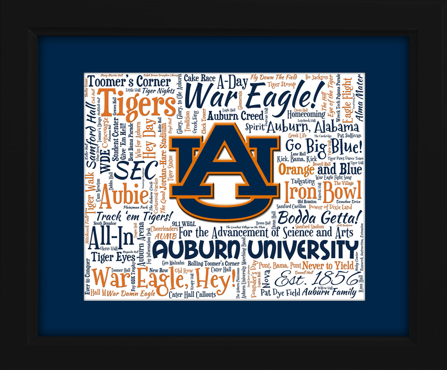 Auburn University 16x20 Art Piece - Beautifully matted and framed behind glass  sc 1 st  AO Designs & Auburn University Tigers Gift Ideas for Christmas Birthdays ...